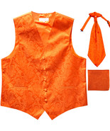New Men's Paisley Tuxedo Vest Waistcoat & Ascot Cravat & Hankie orange - $30.99