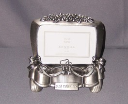 "Sonoma Pewter Just Married 3.5""x5"" Photo Frame Table Top - NEW - $18.79"