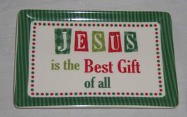Cracker Barrel Small Christmas Plate Rectangle White Red Green Jesus - NEW - $9.89