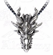 Men's NWT Fierce Dragon Skull Pendant Chain Necklace P625 by Alchemy Met... - £25.07 GBP