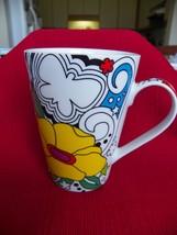 Barnes & Noble Mug Psychedelic  yellow and purple flowers mug - £4.98 GBP
