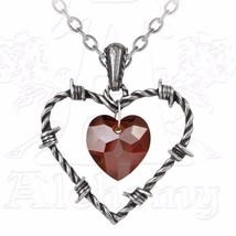 Love Imprisoned Barbed Wire Red Crystal Heart Center Pendant P692 Alchem... - $44.95
