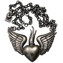 Winged Sacred Heart Rockabilly Chain Necklace Gun Metal, Bronze, Copper ... - $28.00