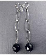 """Dangle BLACK ONYX Sterling SILVER Earrings 3"""" - $25.39"""