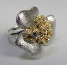 Flower Two Tone Sterling SILVER Cubic Zirconia Ring size 7 - $42.32