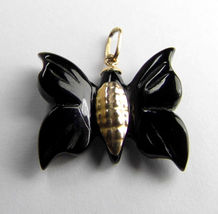 Genuine Black Coral 10K Yellow Gold Butterfly Pendant - $89.35