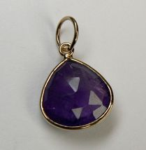 3.75 CT Genuine AMETHYST 18K Rose Gold over Sterling SILVER Pendant - $16.46