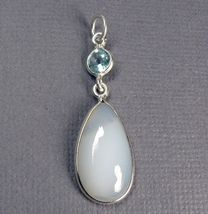 "Chalcedony & Blue Topaz Sterling Silver Pendant 1.5"" - $23.50"