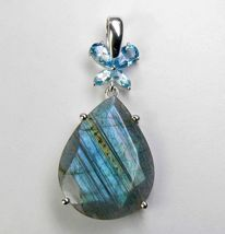 11.50 CT Pear Labradorite and Blue Topaz Sterling Silver PENDANT - $25.39