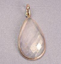 "Genuine Rose Quartz 18K Gold over Sterling SILVER Pendant 1.5"" - $24.45"