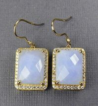 Chalcedony 18K Gold over Sterling Silver DANGLE Earrings - $42.32