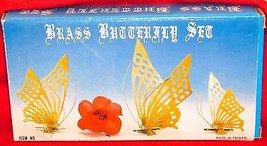 Set of 3 Vintage Brass Butterfly Wall Hangings Butterfly Wall Decor
