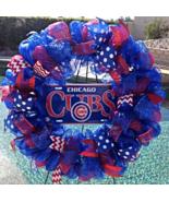Mlb Chicago Cubs Deco Mesh Wreath - Cubs - Cubs Wreath - Cubs Door Decor... - $65.00