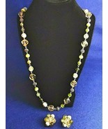 Vintage Necklace & Earrings Set - Green, Gold & White Acrylic Bead -Clip... - $12.50