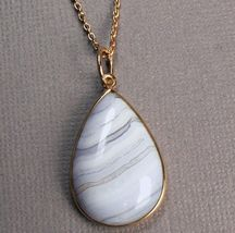 "Lace Agate 18K Rose Gold over Sterling Silver Necklace 16 +2"" - $27.27"