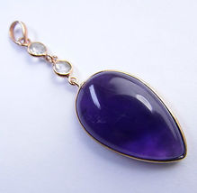 "32.0 CT Amethyst 14K Gold over Sterling SILVER Pendant 2.5"" - $32.91"