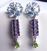 """6.50 CT Blue TOPAZ Amethyst Peridot Sterling SILVER Earrings 1.5"""" - $51.73"""
