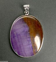 "BIG Chalcedony Sterling SILVER 45 x 35 mm Oval Pendant 2.25"" - $19.75"