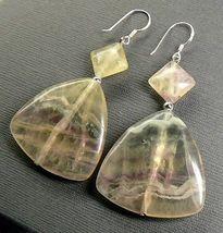 """Massive Fluorite Dangle Sterling Silver Earrings 2.25""""  - $21.63"""