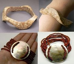 "2 Pc Lot Wave Marble & Multi Strands Mop Bracelet Size 8"" - $23.50"