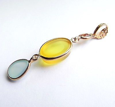 Garnet Chalcedony Yellow Agate 18K Rose Gold over Sterling SILVER Pendant