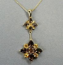 "JESSICA Topaz & Citrine 10K GOLD Flower Necklace 18""  - $242.25"