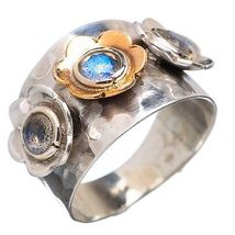 FLOWER Sterling SILVER Labradorite Ring size 8 - £26.55 GBP