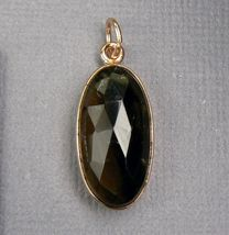 Genuine Smoky QUARTZ 18K Rose GOLD over Sterling SILVER Pendant - $25.39