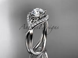 Platinum  diamond celtic trinity knot engagement ring, Moissanite  CT7390 - $2,350.00