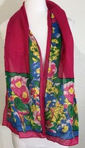 "Ginnie Johansen Womens Scarf Long 58.5"" Hot Pink Blue Floral Parrots - $11.88"
