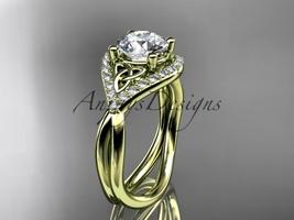 14kt yellow gold diamond celtic trinity knot engagement ring, Moissanite  CT7390 - $1,799.00