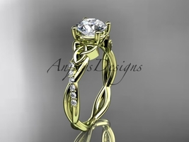 14kt yellow gold diamond celtic trinity knot wedding ring, engagement ring CT738 - $1,275.00