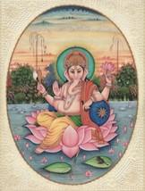 Lord Ganesha Painting Handmade Indian Hindu Miniature Religious Watercol... - $564.99
