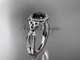 Platinum  diamond celtic engagement ring, Black Diamond center stone CT7393 - $2,195.00