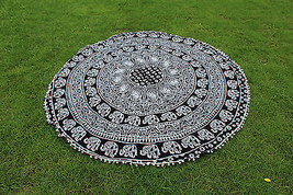 Indian Black&White Mandala 100% Cotton Tapestry Beach Towel Round Table ... - $23.38