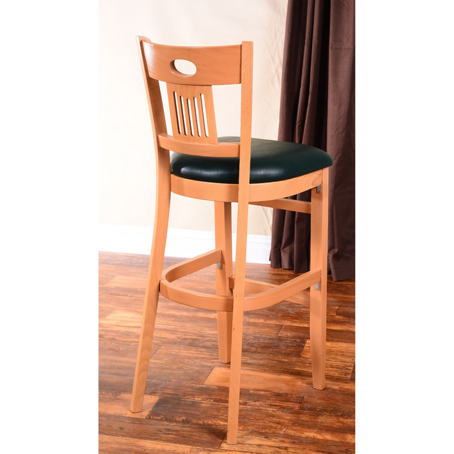 Wooden Bar Stool Upholstered Black Faux Leather Seat  : WoodenBarStoolBlackLeather from bonanza.com size 649 x 649 png 407kB