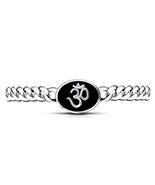 14k White Gold Finish 925 Silver Black Enamel White CZ OM (ॐ) Bracelet F... - $263.62