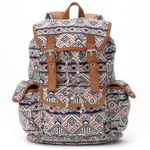 $60 BACKPACK Mudd Tribal Table and Tower Aztec Navy Pink Brown Faux Leat... - $23.48