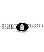 14k White Gold Finish 925 Silver Black Enamel Jesus Chain Bracelet & Fre... - $263.42