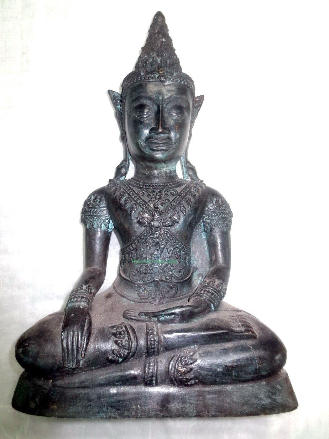 Primary image for 9 Inch Big Ancient Phra Chai Bucha Zong Krueng Ngang Statue Thai Buddha Amulets