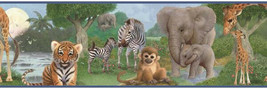 Jungle Animal Babies Bedtime Wallpaper Border Chesapeake Wallcoverings B... - $20.99