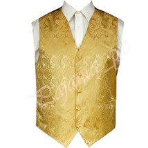 Gold Paisley Tuxedo Suit Dress Vest Waistcoat Formal Party Prom Wedding ... - $19.78+