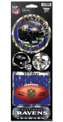 BALTIMORE RAVENS PRISMATIC HOLOGRAPH STICKER DECAL SHEET OF 5 NFL FOOTBALL
