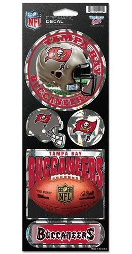 TAMPA BAY BUCCANEERS PRISMATIC HOLOGRAPH STICKER DECAL SHEET OF 5 NFL FOOTBALL