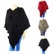 20% Wool Thick Knit  Poncho w/ Ball Cape Sweater Good Quality Shawl Top ... - $25.99