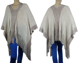 20% Wool Thick Knit  PONCHO w/Glitter Sweater Good Quality Shawl Top One... - $25.99