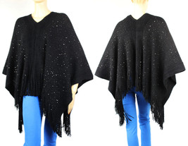 20% Wool Thick Knit  PONCHO w/Sequins Sweater Good Quality Shawl Top One... - $25.99
