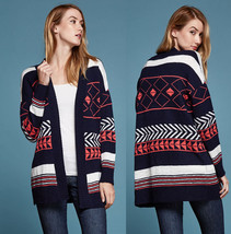 Aztec Print Open Thick Knit Cardigan Sweater Wide Collar Good Quality Ca... - $32.99