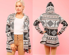 Geometric Print Open Thick Knit Cardigan Hooded Sweater Good Quality Cas... - $32.99