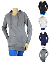 BRUSHED INNER FLEECE LONG HOODIE SWEATSHIRTS -100% cotton Casual Top Sol... - $19.99